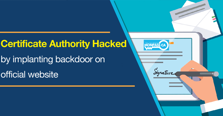 Certificate Authority Hacked by Implanting Backdoor on Official Website