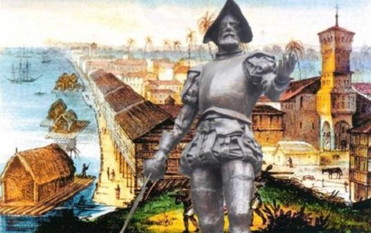 Descubrimiento del Amazonas por Francisco de Orellana Dibujo_Guayaquil_siglo_XVI-Francisco_de_Orellana