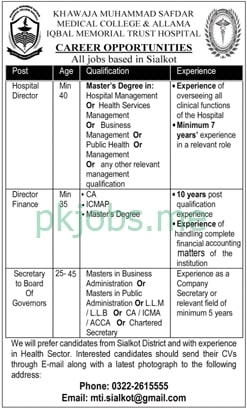 Latest Khawaja Muhammad Safdar Medical College Management Posts 2021