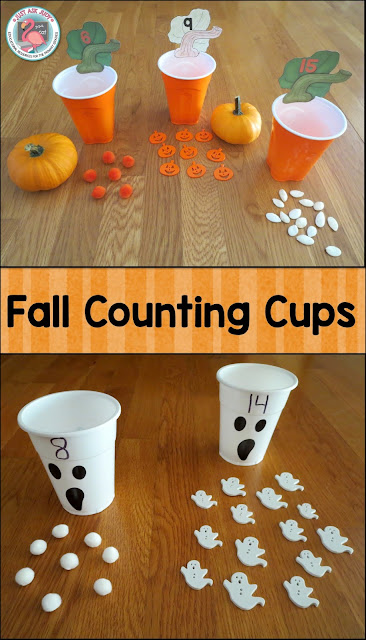 Counting Cups are a great activity to use for number recognition, counting, and cardinality in pre-k and kindergarten. The pumpkin stem and leaf number cards can be downloaded for free.