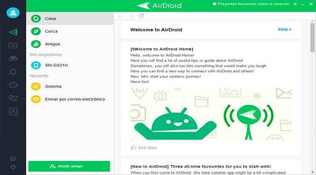Aplicación AirDroid para transferir archivos