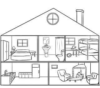 Imagenes de partes de la casa para colorear