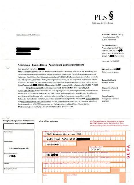 Scan: Anschreiben PLS Inkass Services Group