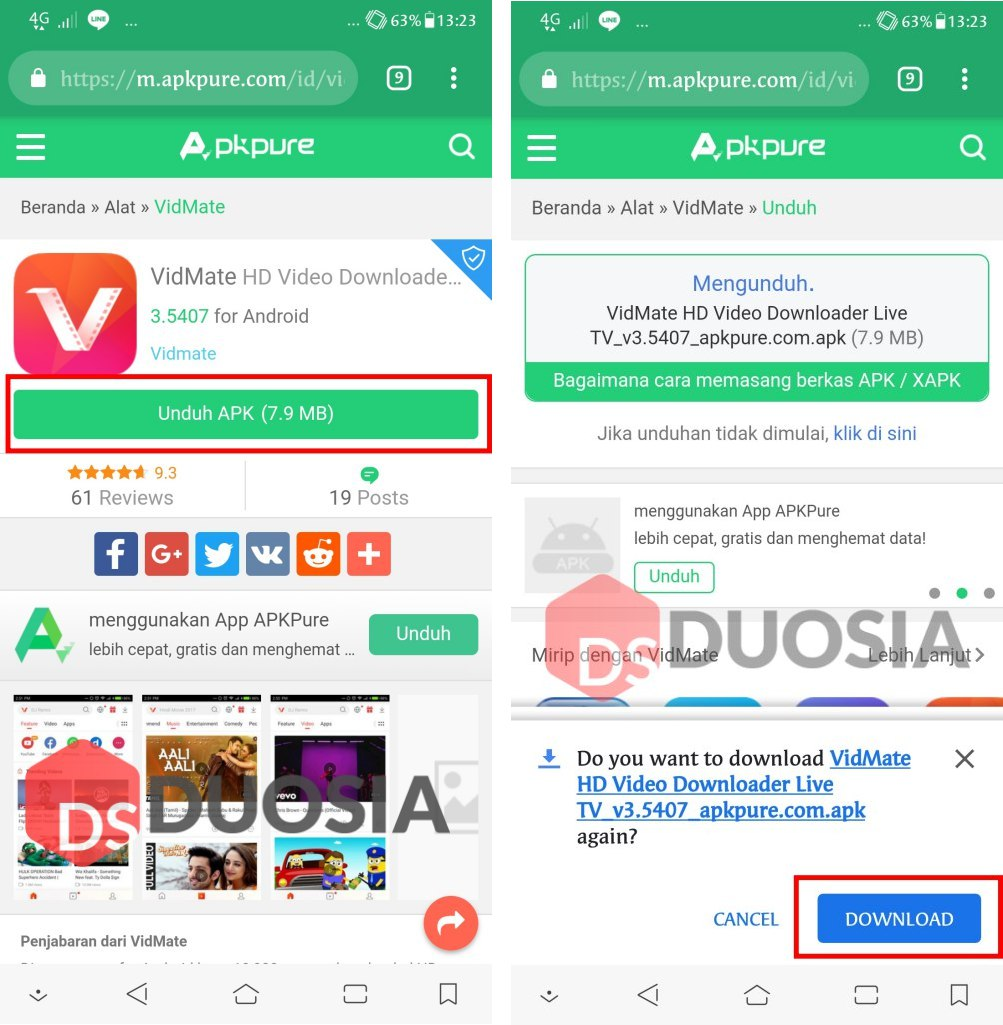 tutorial download video di vidio.com via android