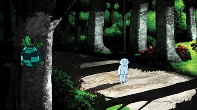 imagen donde hombre luna camina por el bosque