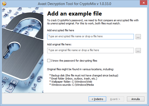 Avax Decryption Tool for CryptoMix, selezione file cifrato e non cifrato