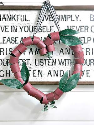 repurposed TP roll heart wreath