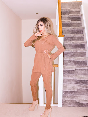 What is the best loungewear to buy The Femme Luxe Brown Ribbed Belted Loungewear Set in model Asia.
