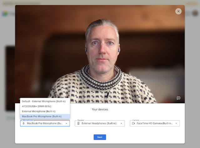 Check your video and peripheral device quality before joining a Google Meet call 2