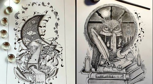 00-Martina-Arend-Ink-Drawings-Steeped-in-Fantasy-www-designstack-co