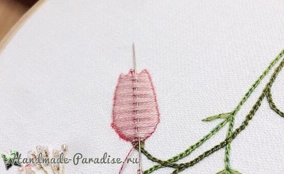 Мастер-класс. Объемная вышивка тюльпаны (11)