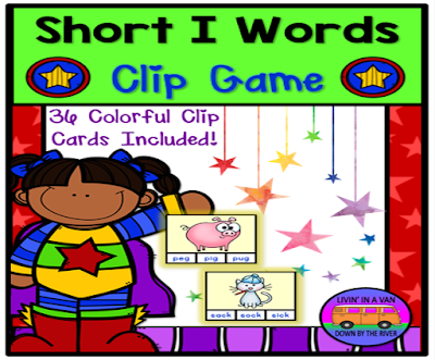 SHORT I WORDS, SHORT VOWEL GAMES, CLIP GAMES, LITERACY CENTERS