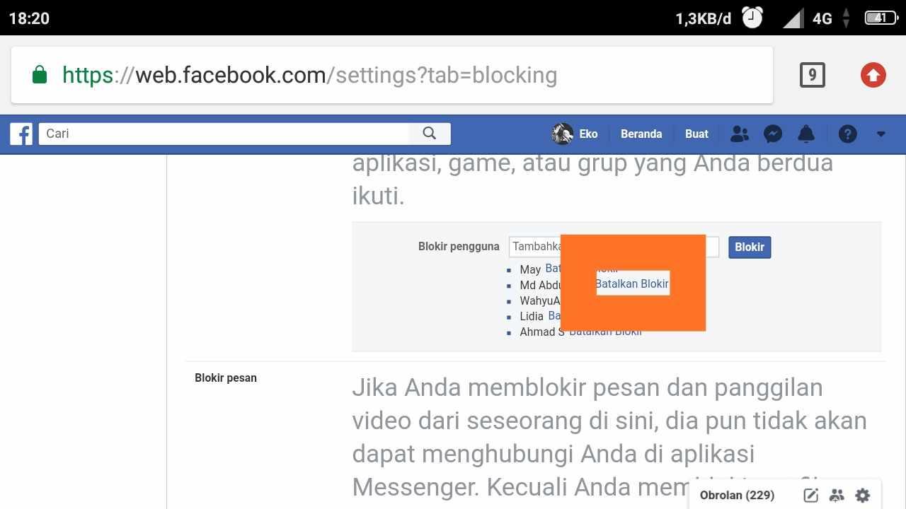 cara membuka blokir teman pada facebook