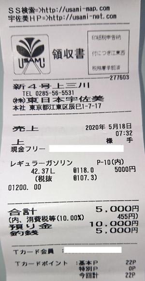 (株)東日本宇佐美 新4号上三川SS 2020/5/18 のレシート