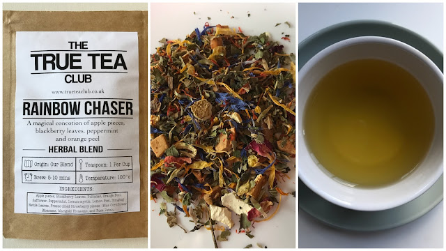 A collage of 3 pictures showing the Rainbow chaser tea packet, the loose tea with lots of coloured petals and a cup of tea.