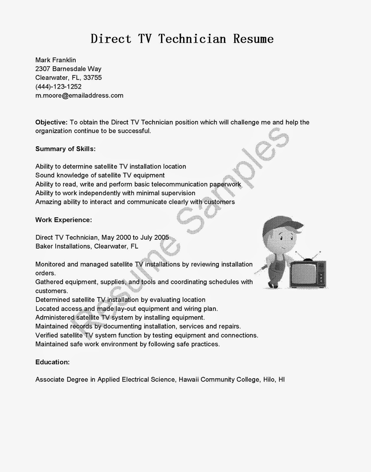 Sanitation Worker Resume Resume Samples Direct Tv Technician Resume Sample