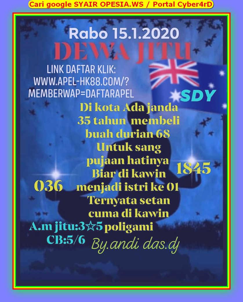 Kode syair Sydney Rabu 15 Januari 2020 20