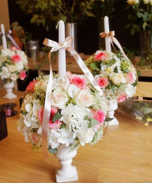 C mo hacer un arreglo floral con velas para boda - Arreglos florales para bodas ...