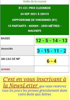 Pronostic quinté+ pmu vendredi Paris-Turf TV-100 % 24/09/2021