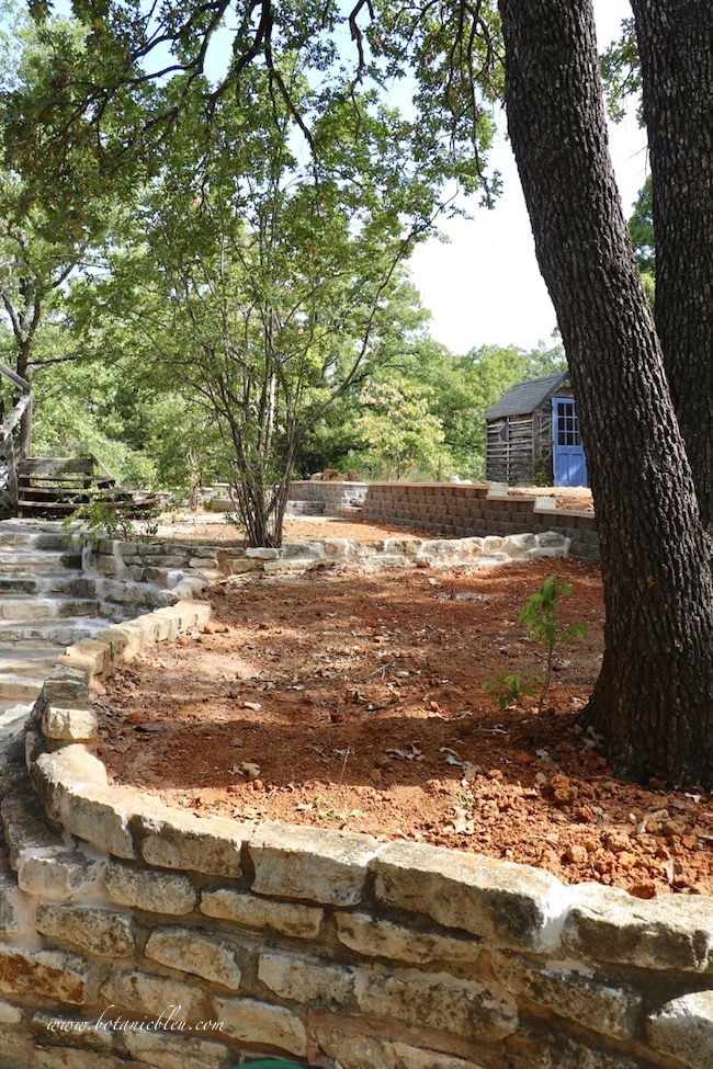 Backyard Retaining Wall Blended With Existing Stone Wall With Old World Charm