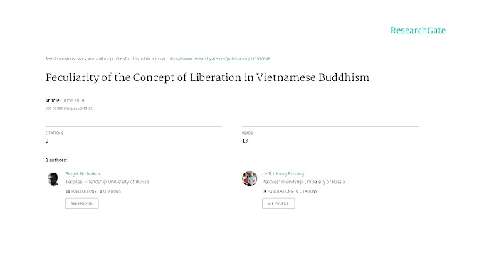 [Le Thi Hong Phuong, Sergei Nizhnikov] Peculiarity of the Concept of Liberation in Vietnamese Buddhism