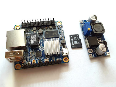 Orange Pi Zero SBC, the SD card and power module
