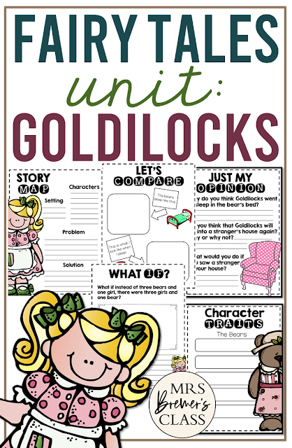 Goldilocks Fairy Tales unit with Common Core aligned literacy activities for First Grade and Second Grade
