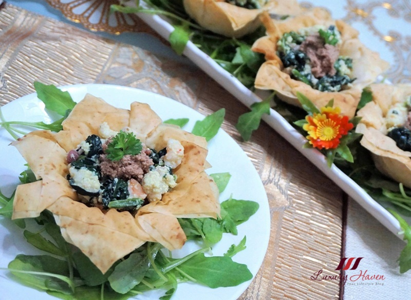 prawn spinach filo cups with foie gras