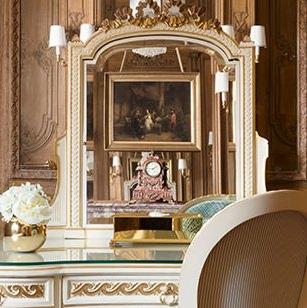 Breathtaking feminine romantic suite interior renovated Ritz Paris