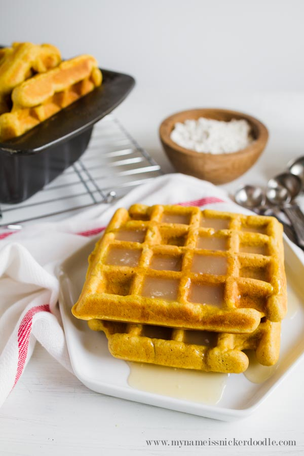 Perfect Pumpkin Waffles complete with a Cinnamon Syrup!  A wonderful breakfast for the fall!  |  mynameissnickerdoodle.com
