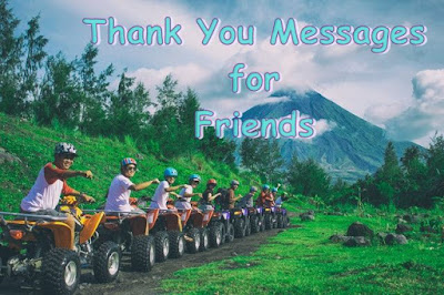 Thank you message for friends text image with line of men all riding terrain vehicles holding out hand.