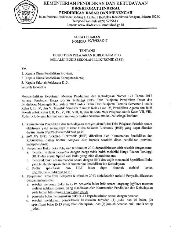Surat Edaran Dirjen Dikdasmen No 10/D/KR/2017 Tentang Buku Teks Pelajaran Kurikulum 2013 Melalui Buku Sekolah Elektronik (BSE)