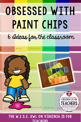 'm sure my feelings for Paint Chips can be classified as an obsession. I am posting about 6 ways to use paint chips my classroom. Can you think of more ways...please tell me.