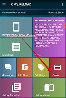Buka aplikasi dan klik menu SALDO