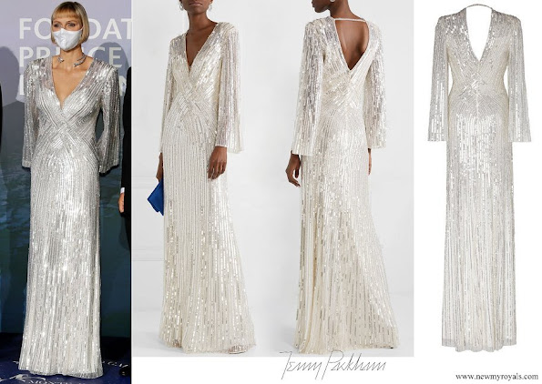 Princess Charlene wore Jenny Packham Silvie V-neck Sequin Gown