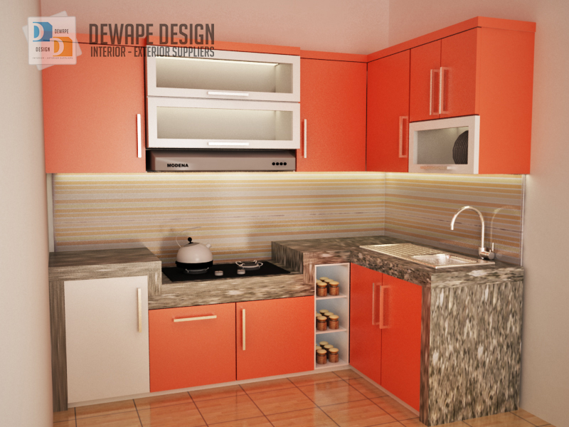 Kitchen set warna orange putih malang kitchen set rumah for Kitchen set hijau
