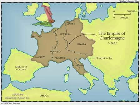 Holy Roman Empire Map circa 800