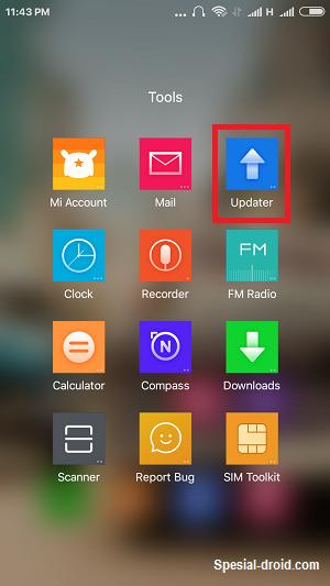 Masuk ke menu Update pada Smartphone Redmi 2 kalian
