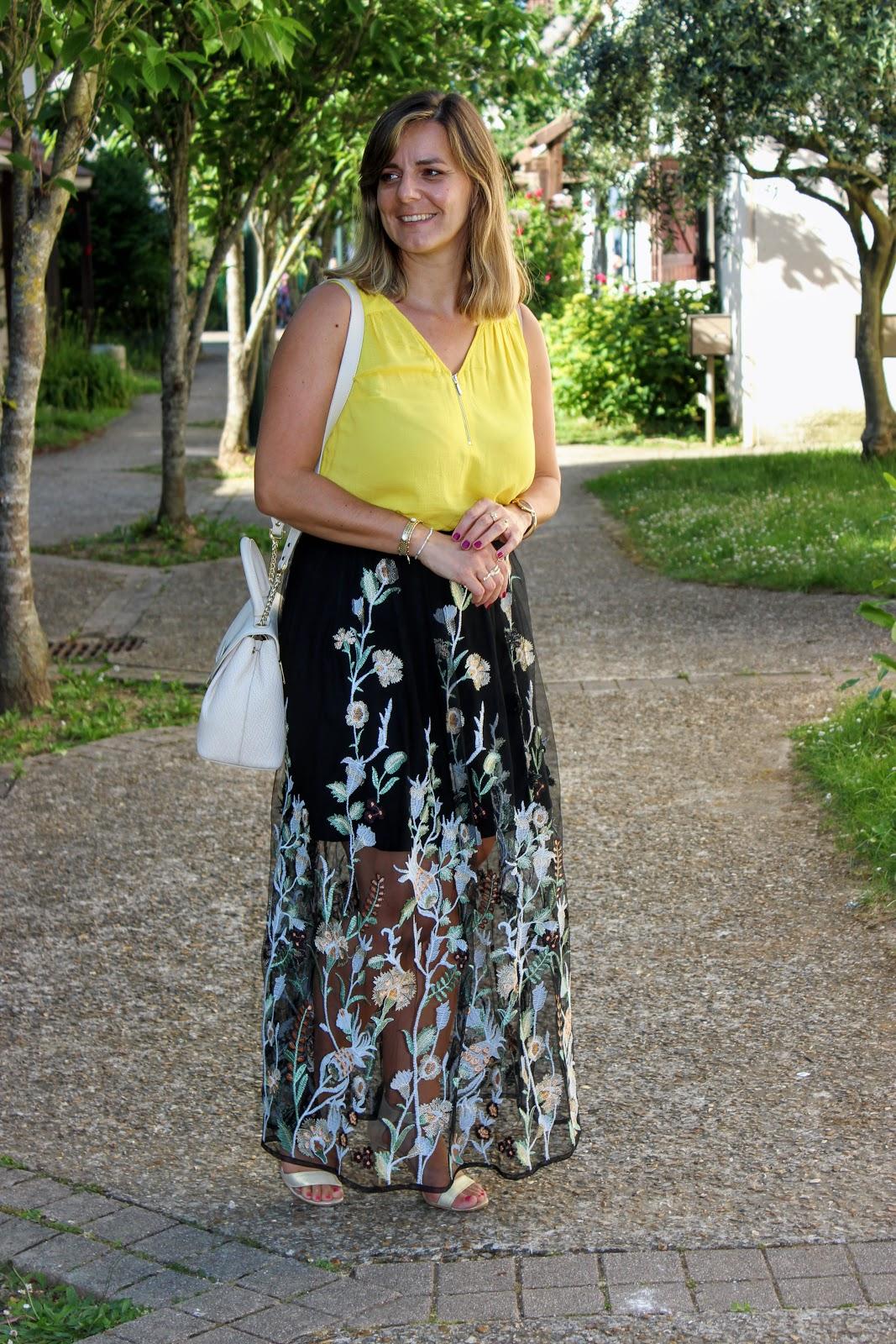 Jupe maje, look d'été, sac tressé lancaster, les petites bulles de ma vie