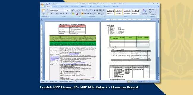 Contoh RPP Daring IPS SMP MTs Kelas 9 - Ekonomi Kreatif