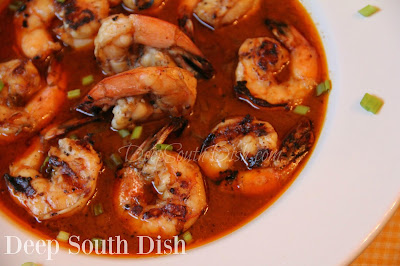 The flavors of a New Orleans Style BBQ Shrimp, made with brined and marinated, peeled and deveined grilled shrimp, making it much less messy to eat. Serve with plenty of French bread to sop up the sauce though!