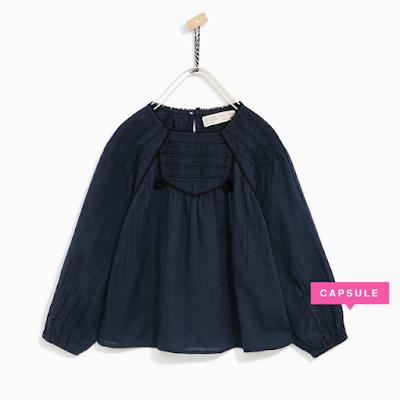 zara blusa azul pompon niña - mis compras en las rebajas