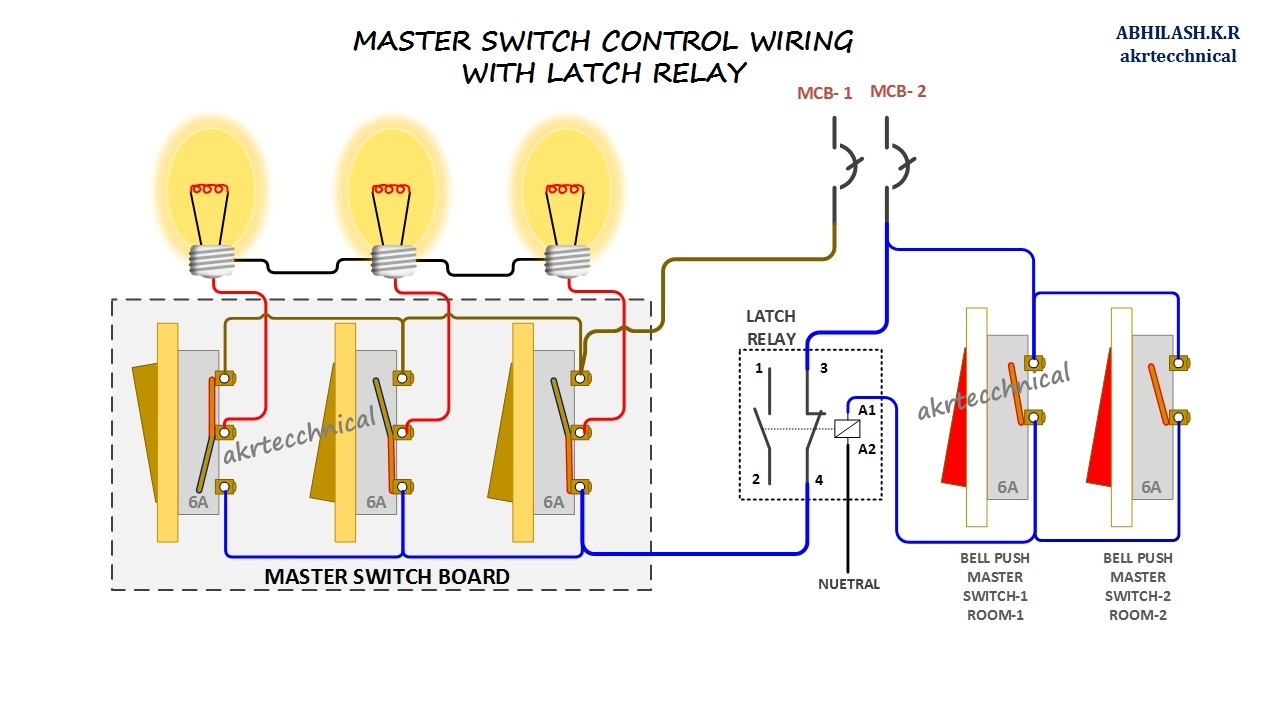 [WLLP_2054]   Master Control with Latching Relay Connection Diagram | Latching Relay Wiring Diagram |  | eeetechs4u