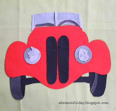 Retro Car applique in a few steps