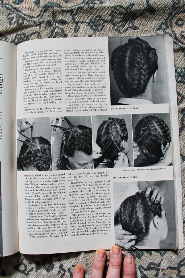 1940 vintage french braid updo hair style tutorial