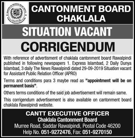 Jobs in Cantonment Board Rawalpindi