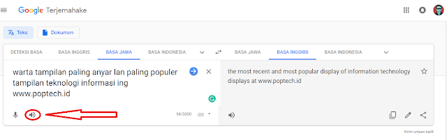 Google Translate Jawa - Text To Speech (TTS)