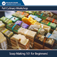 Poster for Soap Making 101 class featuring colorful bars of soap