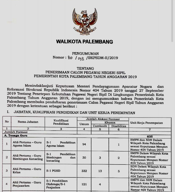 Formasi CPNS Palembang Terima 332 Guru SD dan 121 Guru PJOK