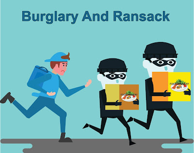 burglary and ransack on food delivery